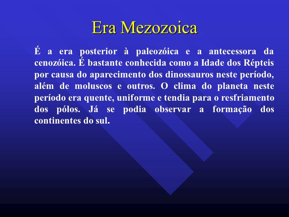 Era Mezozoica É a era posterior à paleozóica e a antecessora da cenozóica. É bastante conhecida como a Idade dos Répteis por causa do aparecimento dos