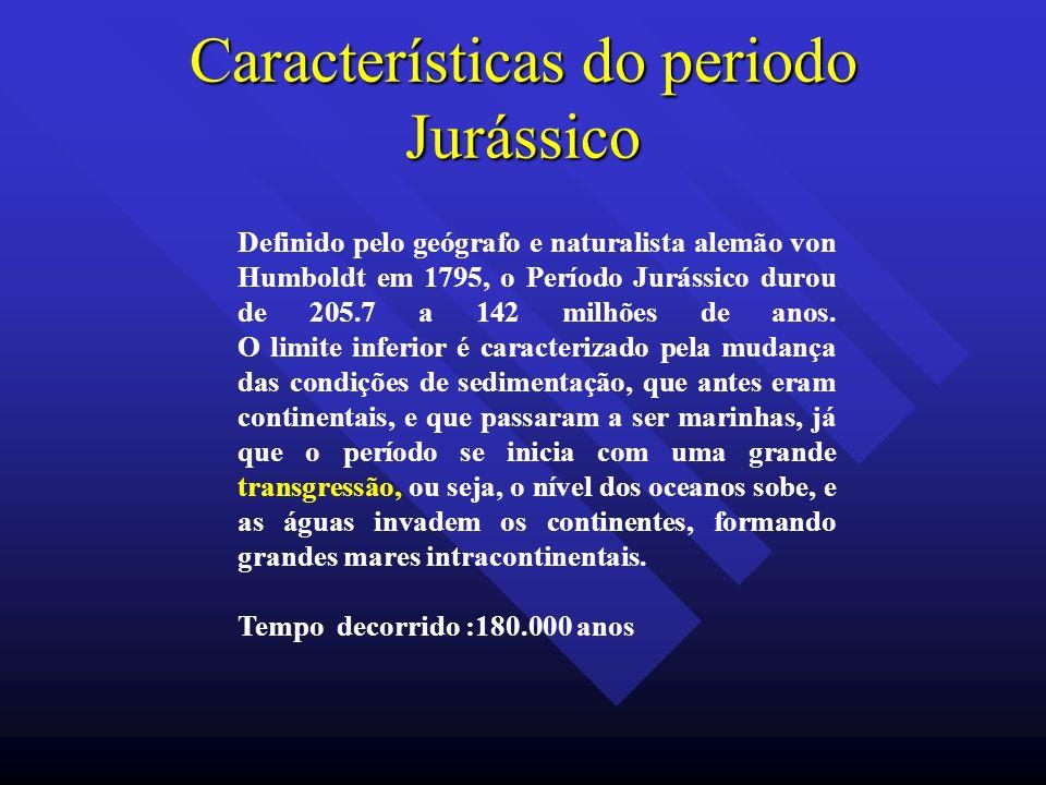 Características do periodo Jurássico Definido pelo geógrafo e naturalista alemão von Humboldt em 1795, o Período Jurássico durou de 205.7 a 142 milhõe