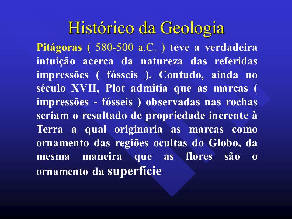 Histórico da Geologia Pitágoras ( 580-500 a.C. ) teve a verdadeira intuição acerca da natureza das referidas impressões ( fósseis ). Contudo, ainda no