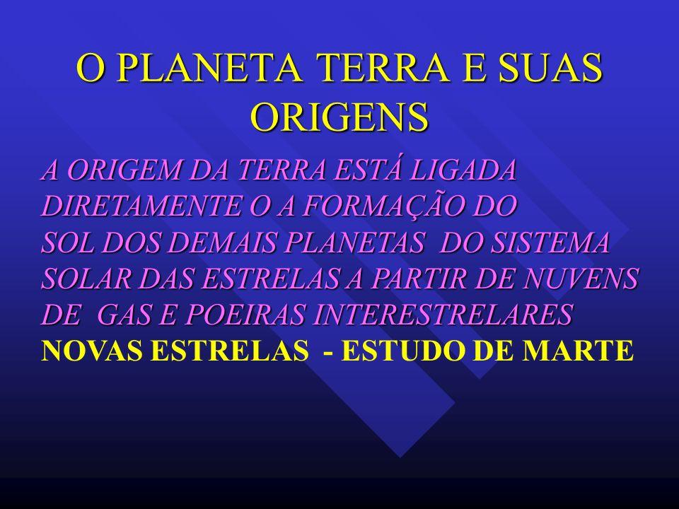 O PLANETA TERRA E SUAS ORIGENS A ORIGEM DA TERRA ESTÁ LIGADA DIRETAMENTE O A FORMAÇÃO DO SOL DOS DEMAIS PLANETAS DO SISTEMA SOLAR DAS ESTRELAS A PARTI