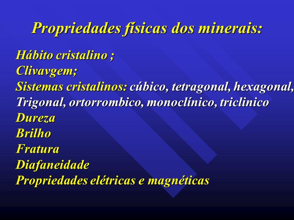 Propriedades físicas dos minerais: Hábito cristalino ; Clivavgem; Sistemas cristalinos: cúbico, tetragonal, hexagonal, Trigonal, ortorrombico, monoclí