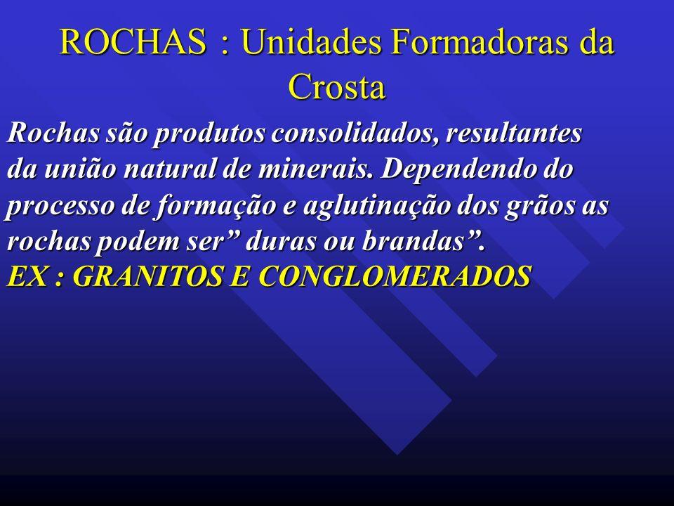 ROCHAS : Unidades Formadoras da Crosta Rochas são produtos consolidados, resultantes da união natural de minerais. Dependendo do processo de formação