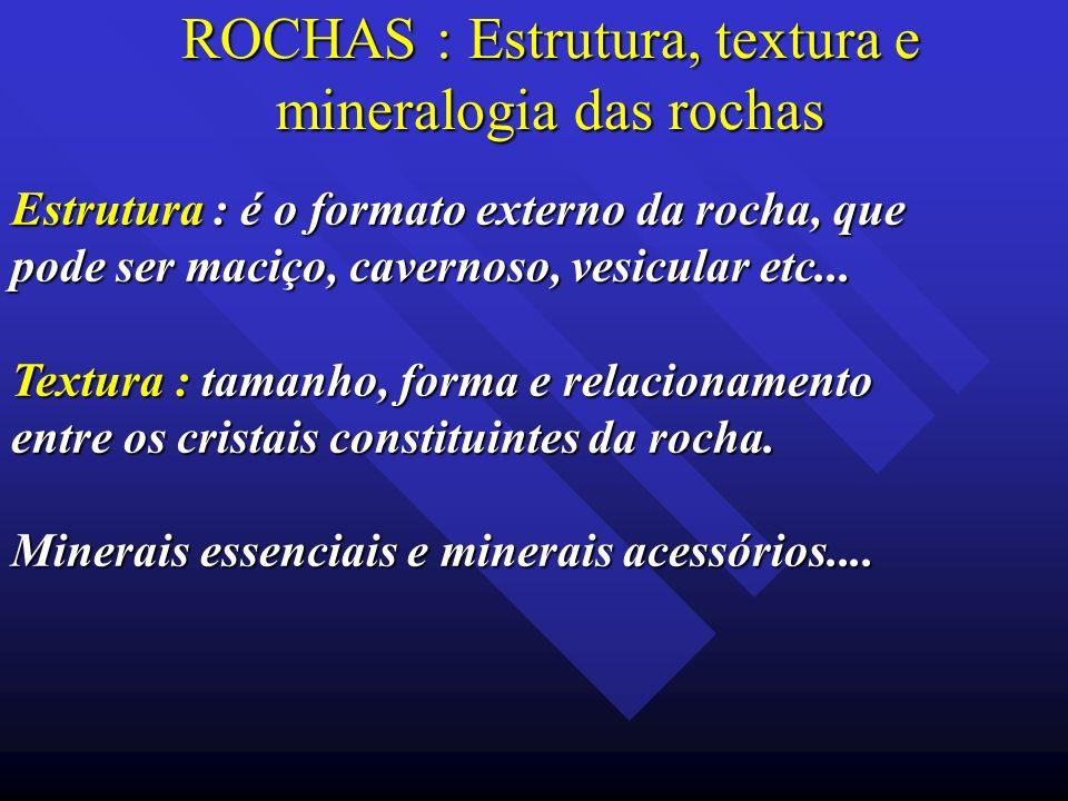 ROCHAS : Estrutura, textura e mineralogia das rochas Estrutura : é o formato externo da rocha, que pode ser maciço, cavernoso, vesicular etc... Textur