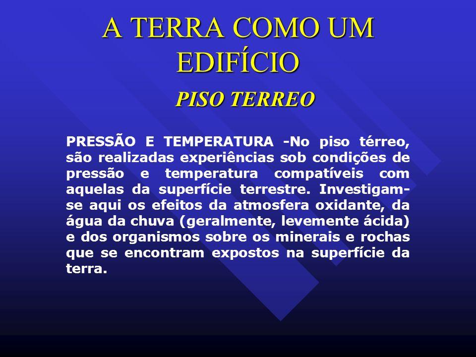 A TERRA COMO UM EDIFÍCIO PRESSÃO E TEMPERATURA -No piso térreo, são realizadas experiências sob condições de pressão e temperatura compatíveis com aqu