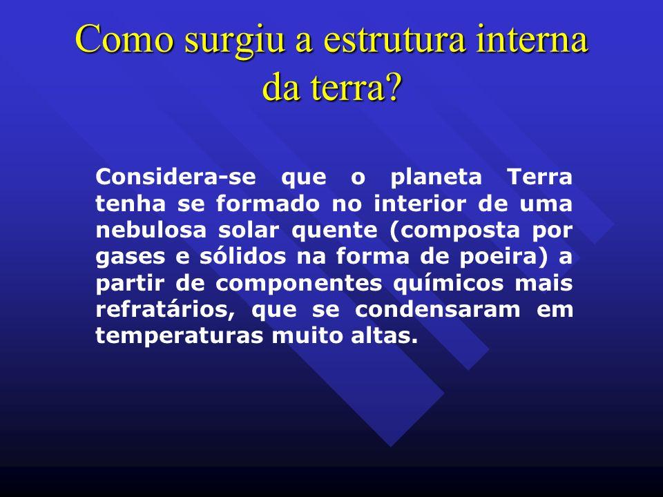 Como surgiu a estrutura interna da terra? Considera-se que o planeta Terra tenha se formado no interior de uma nebulosa solar quente (composta por gas