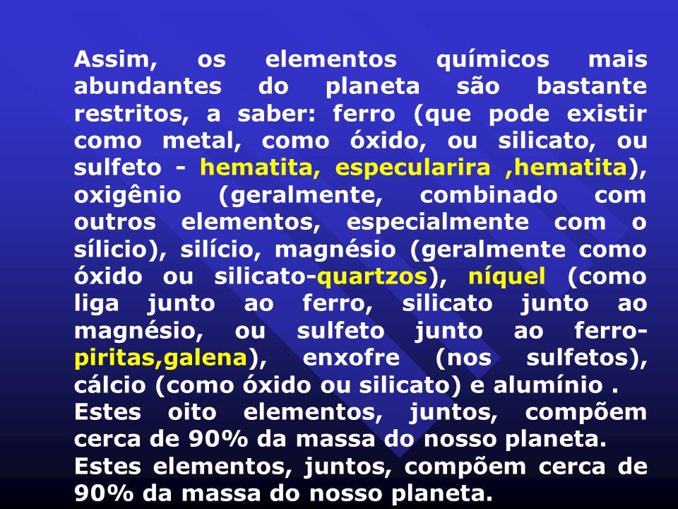Assim, os elementos químicos mais abundantes do planeta são bastante restritos, a saber: ferro (que pode existir como metal, como óxido, ou silicato,