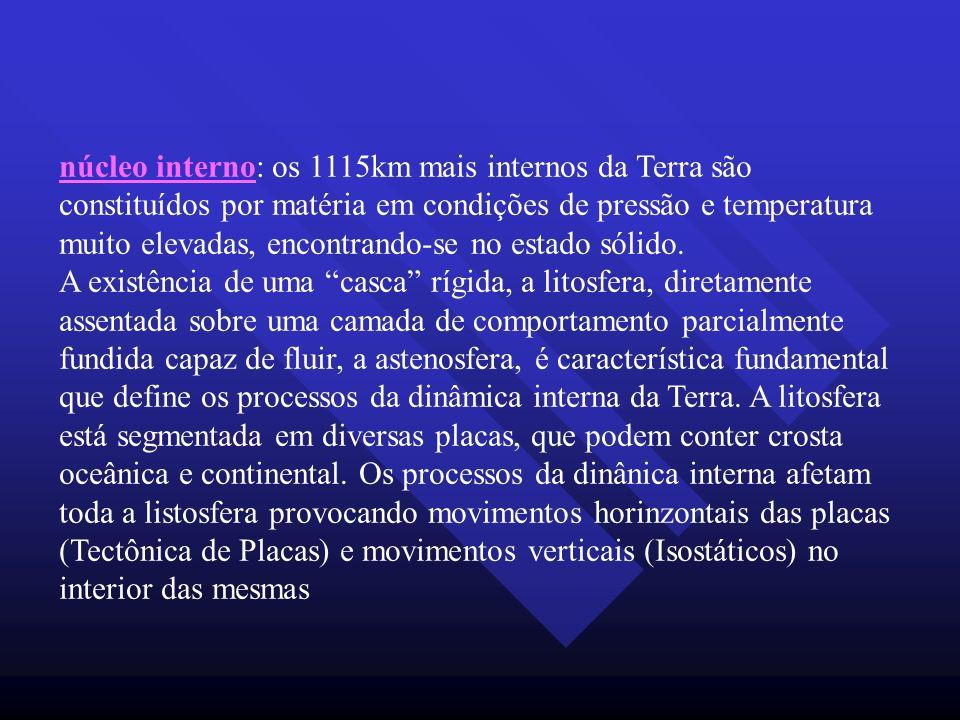 núcleo interno: os 1115km mais internos da Terra são constituídos por matéria em condições de pressão e temperatura muito elevadas, encontrando-se no