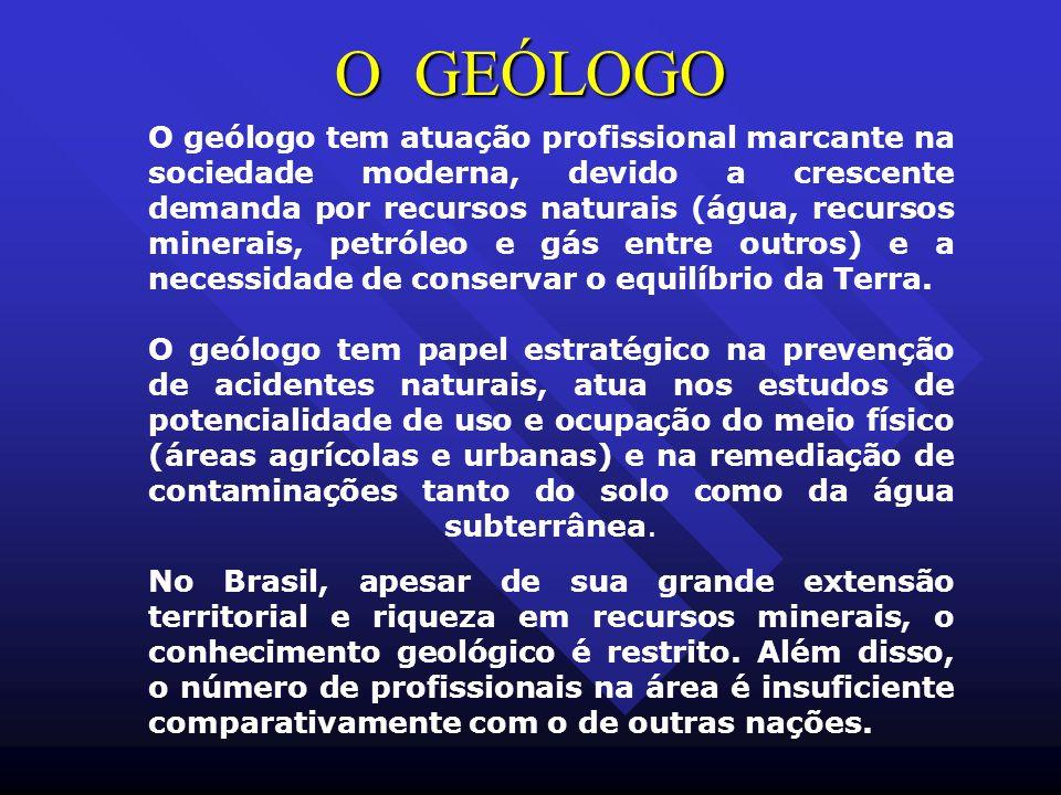 O GEÓLOGO O geólogo tem atuação profissional marcante na sociedade moderna, devido a crescente demanda por recursos naturais (água, recursos minerais,