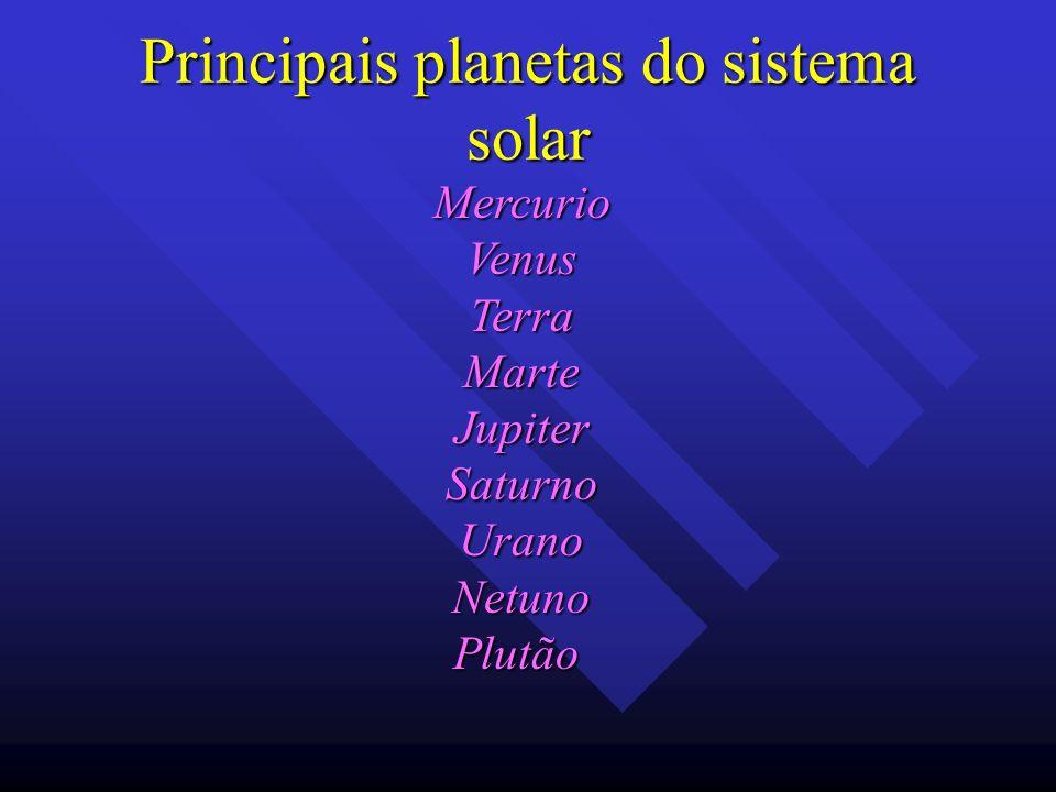 Principais planetas do sistema solar MercurioVenusTerraMarteJupiterSaturnoUranoNetunoPlutão