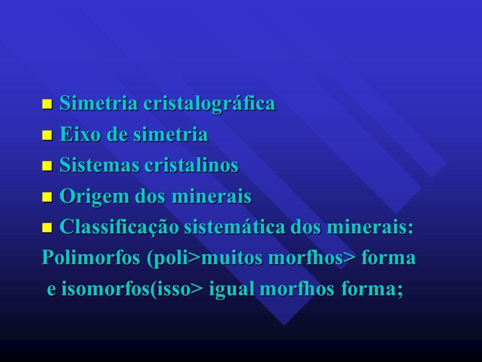 Simetria cristalográfica Simetria cristalográfica Eixo de simetria Eixo de simetria Sistemas cristalinos Sistemas cristalinos Origem dos minerais Orig