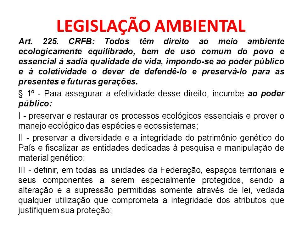 LEGISLAÇÃO AMBIENTAL Art. 225. CRFB: Todos têm direito ao meio ambiente ecologicamente equilibrado, bem de uso comum do povo e essencial à sadia quali