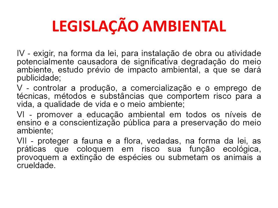 LEGISLAÇÃO AMBIENTAL IV - exigir, na forma da lei, para instalação de obra ou atividade potencialmente causadora de significativa degradação do meio a