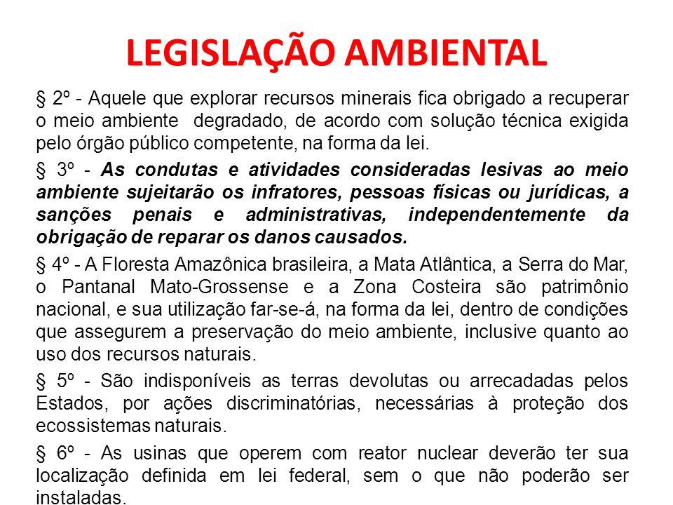 LEGISLAÇÃO AMBIENTAL § 2º - Aquele que explorar recursos minerais fica obrigado a recuperar o meio ambiente degradado, de acordo com solução técnica e