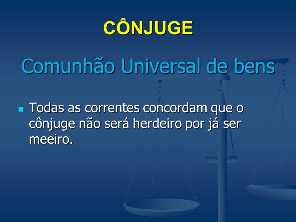 CÔNJUGE Comunhão Parcial de Bens C1 e C2 – É condição para concorrer com os descendentes que o de cujus tenha deixado bens particulares.