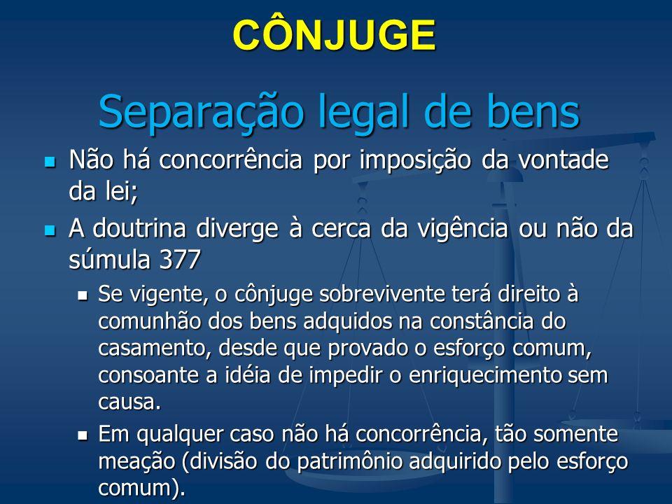CÔNJUGE Separação legal de bens Não há concorrência por imposição da vontade da lei; Não há concorrência por imposição da vontade da lei; A doutrina d