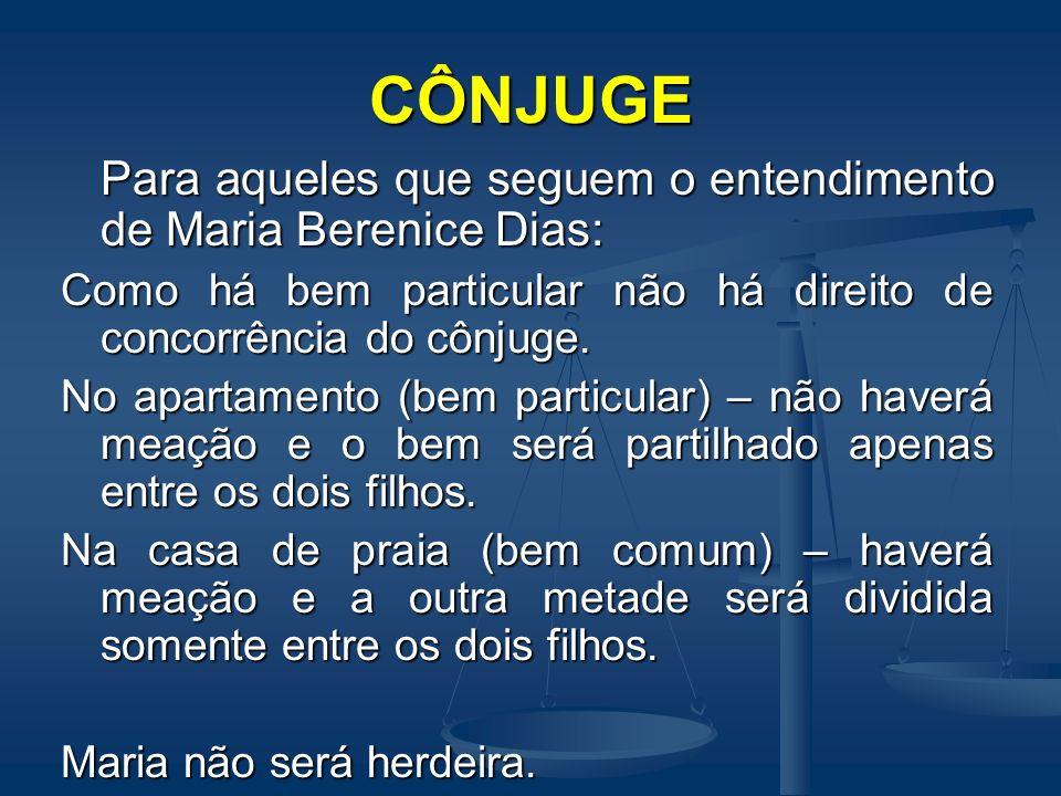 CÔNJUGE Para aqueles que seguem o entendimento de Maria Berenice Dias: Como há bem particular não há direito de concorrência do cônjuge. No apartament