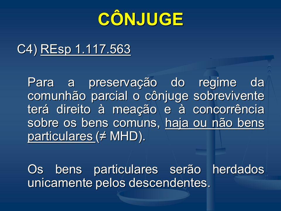 CÔNJUGE C4) REsp 1.117.563 Para a preservação do regime da comunhão parcial o cônjuge sobrevivente terá direito à meação e à concorrência sobre os ben