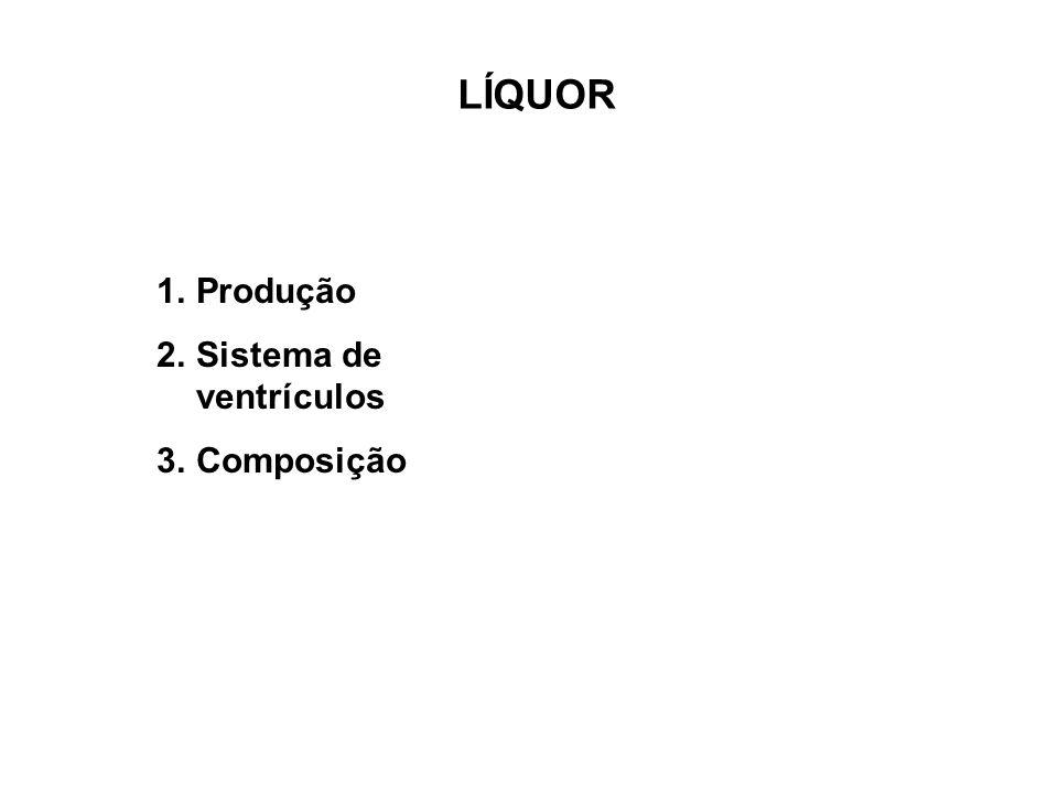 LÍQUOR 1.Produção 2.Sistema de ventrículos 3.Composição