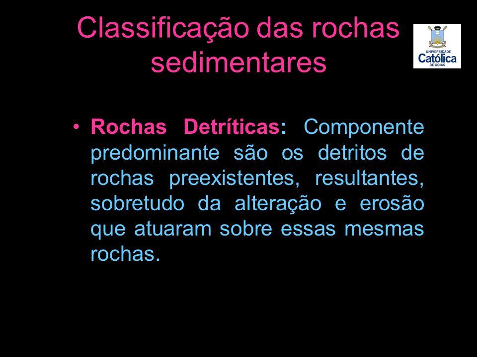 Classificação das rochas sedimentares Rochas Detríticas: Componente predominante são os detritos de rochas preexistentes, resultantes, sobretudo da al