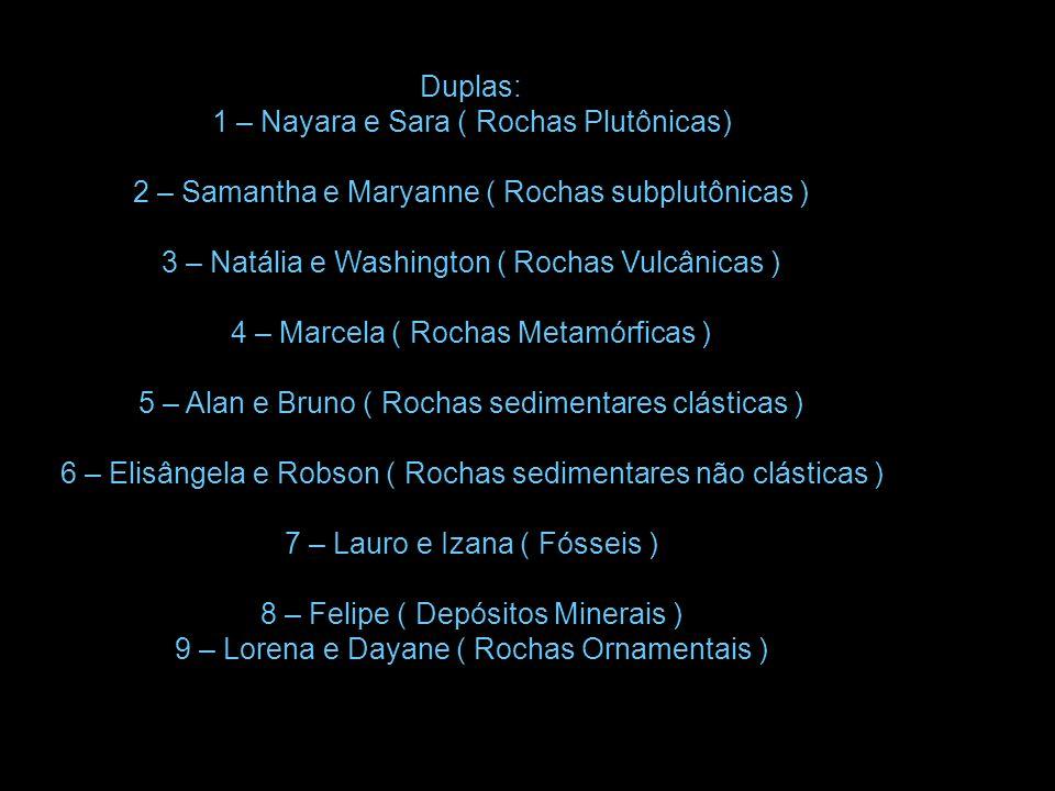 Duplas: 1 – Nayara e Sara ( Rochas Plutônicas) 2 – Samantha e Maryanne ( Rochas subplutônicas ) 3 – Natália e Washington ( Rochas Vulcânicas ) 4 – Mar