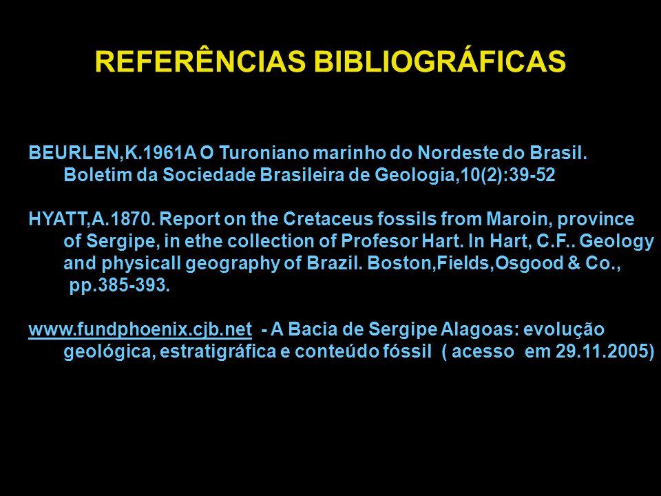 REFERÊNCIAS BIBLIOGRÁFICAS BEURLEN,K.1961A O Turoniano marinho do Nordeste do Brasil. Boletim da Sociedade Brasileira de Geologia,10(2):39-52 HYATT,A.