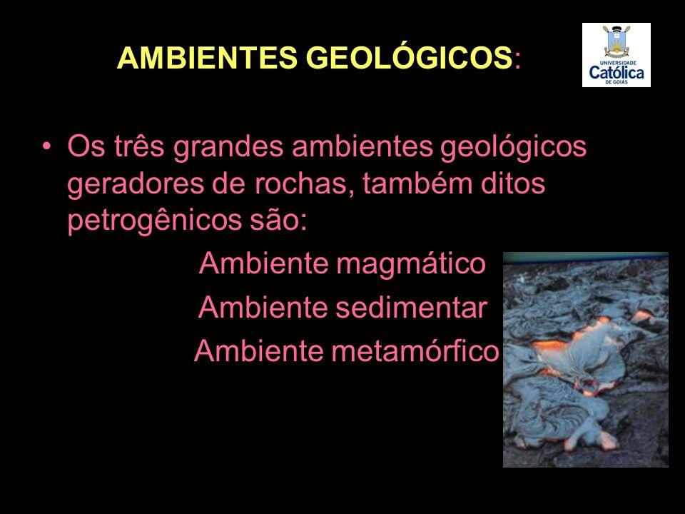 AMBIENTES GEOLÓGICOS: Os três grandes ambientes geológicos geradores de rochas, também ditos petrogênicos são: Ambiente magmático Ambiente sedimentar