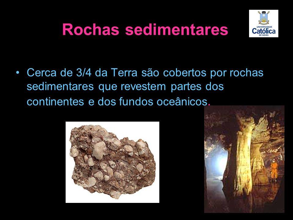 Cerca de 3/4 da Terra são cobertos por rochas sedimentares que revestem partes dos continentes e dos fundos oceânicos. Rochas sedimentares