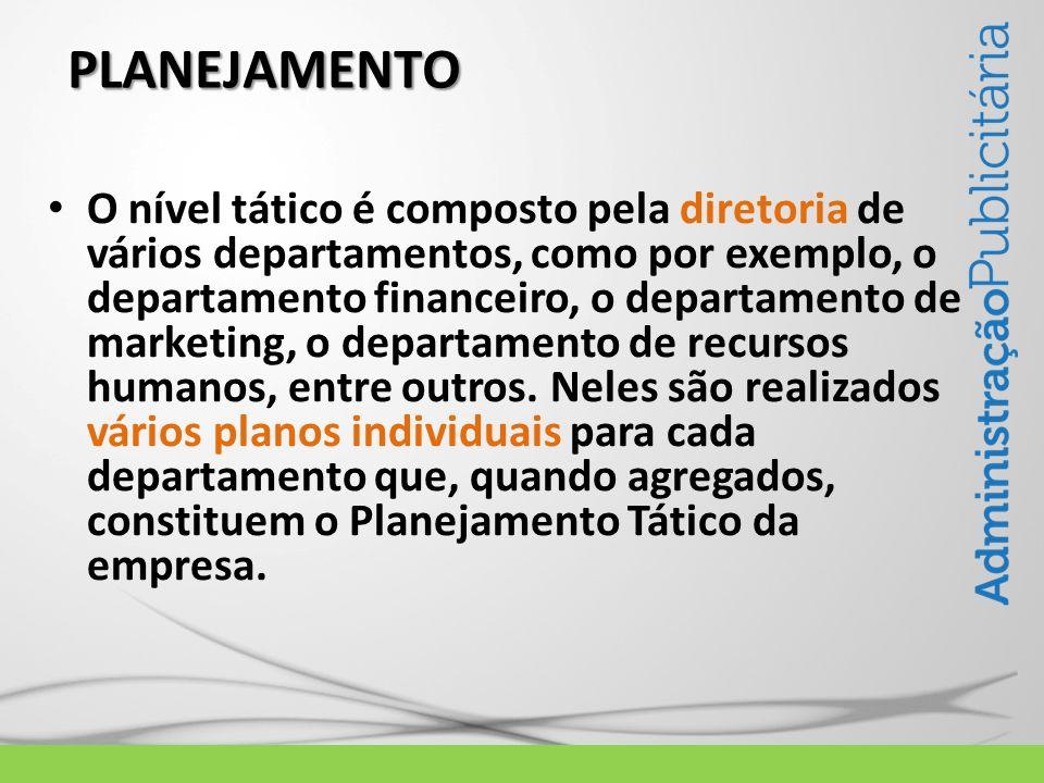 PLANEJAMENTO O nível tático é composto pela diretoria de vários departamentos, como por exemplo, o departamento financeiro, o departamento de marketin