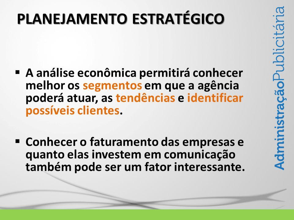 PLANEJAMENTO ESTRATÉGICO A análise econômica permitirá conhecer melhor os segmentos em que a agência poderá atuar, as tendências e identificar possíve