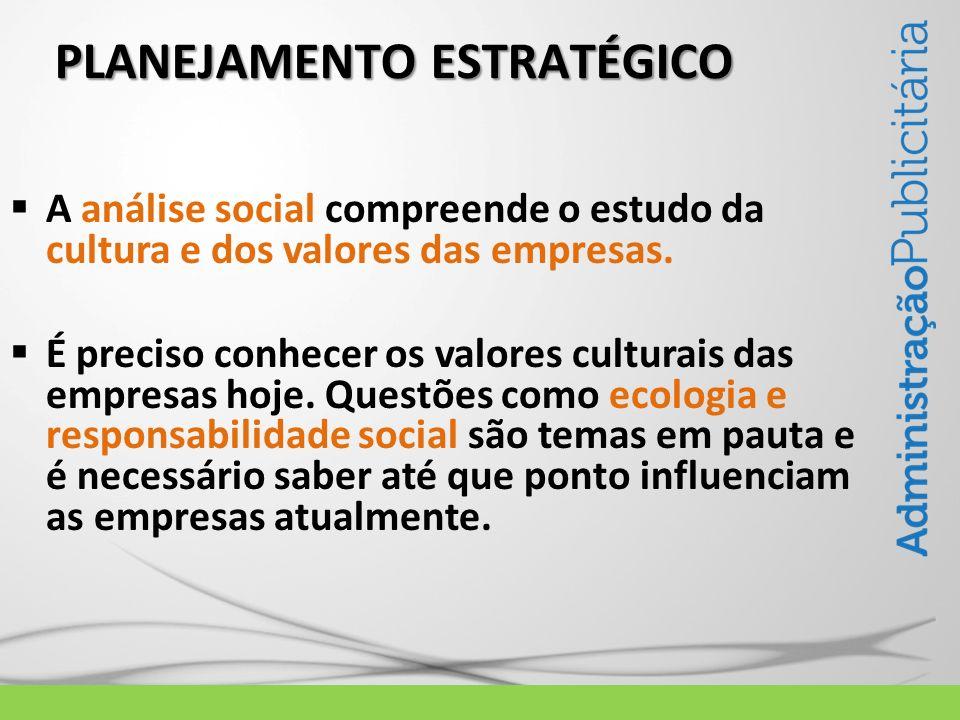 PLANEJAMENTO ESTRATÉGICO A análise social compreende o estudo da cultura e dos valores das empresas. É preciso conhecer os valores culturais das empre