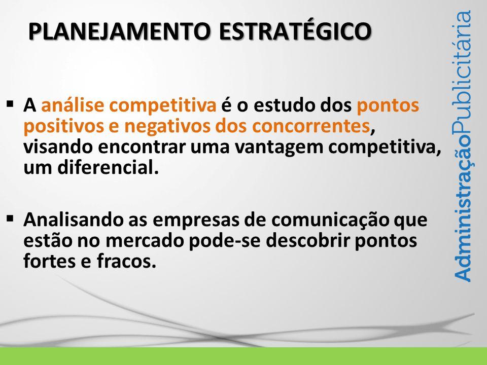 PLANEJAMENTO ESTRATÉGICO A análise competitiva é o estudo dos pontos positivos e negativos dos concorrentes, visando encontrar uma vantagem competitiv