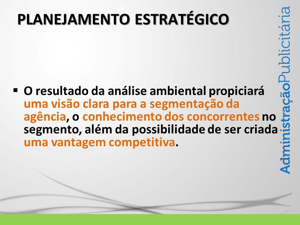 PLANEJAMENTO ESTRATÉGICO O resultado da análise ambiental propiciará uma visão clara para a segmentação da agência, o conhecimento dos concorrentes no