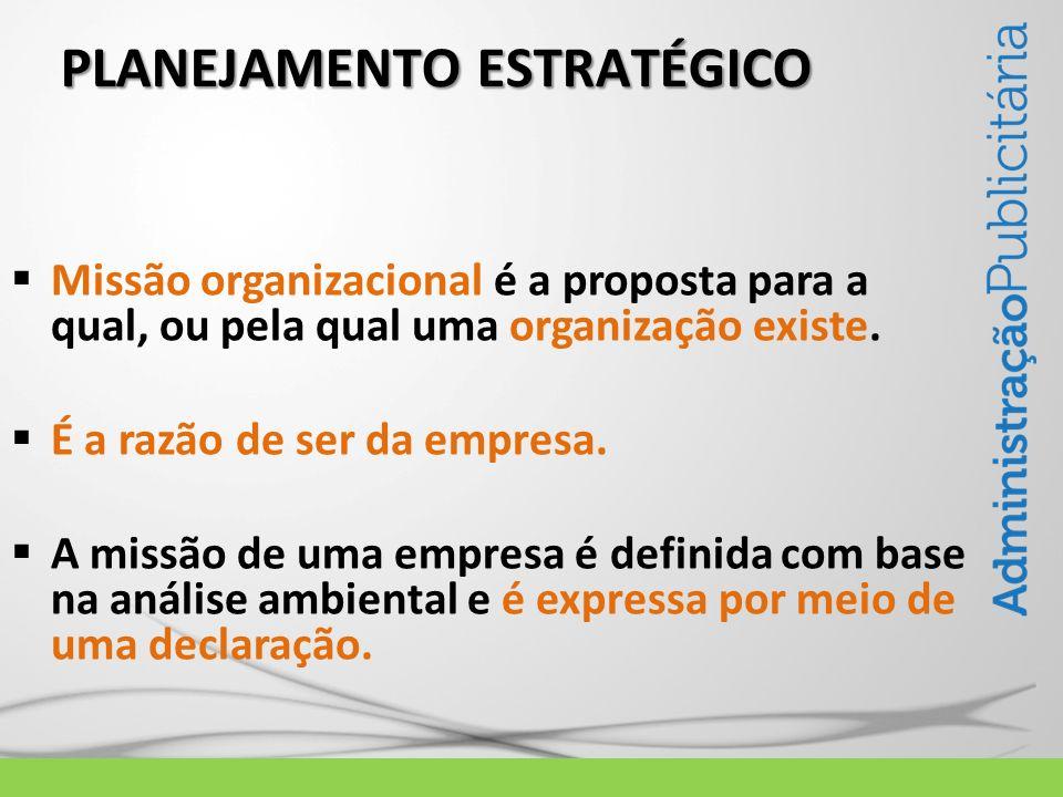 PLANEJAMENTO ESTRATÉGICO Missão organizacional é a proposta para a qual, ou pela qual uma organização existe. É a razão de ser da empresa. A missão de
