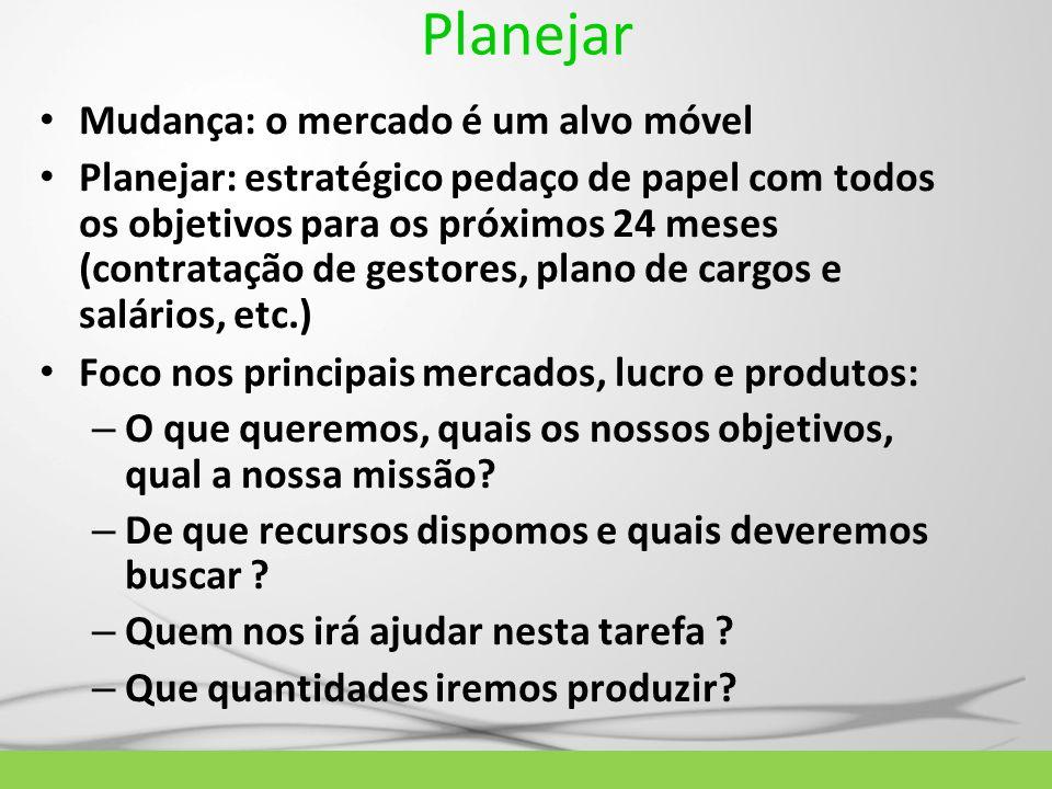 Planejar Mudança: o mercado é um alvo móvel Planejar: estratégico pedaço de papel com todos os objetivos para os próximos 24 meses (contratação de ges