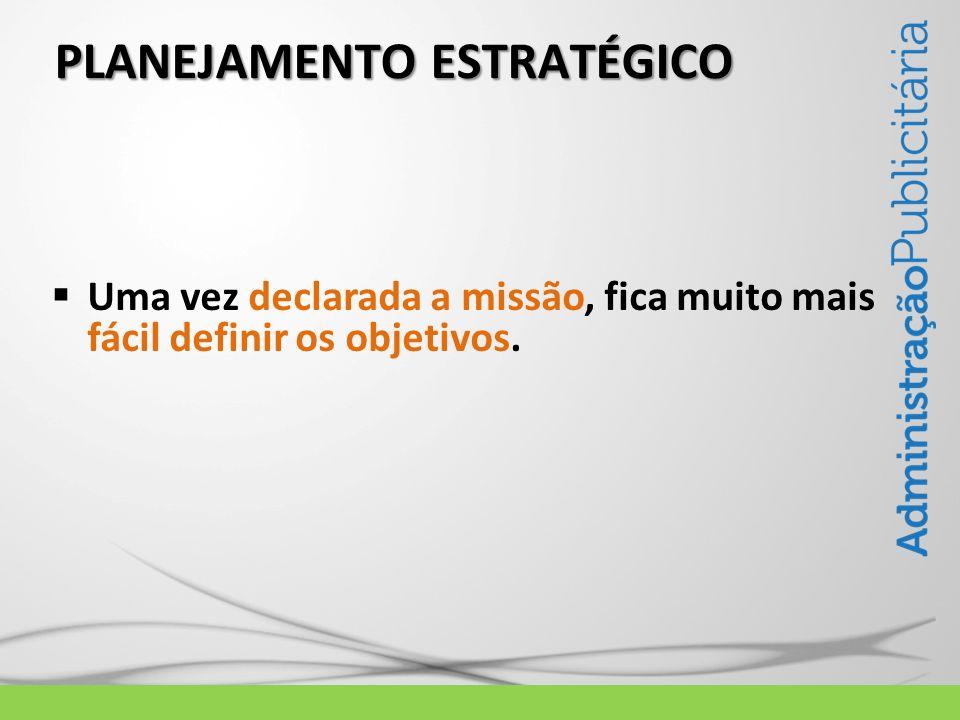 PLANEJAMENTO ESTRATÉGICO Uma vez declarada a missão, fica muito mais fácil definir os objetivos.