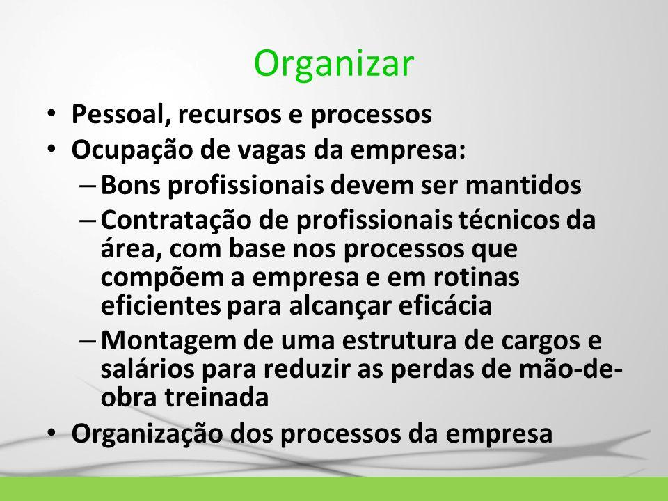 Organizar Pessoal, recursos e processos Ocupação de vagas da empresa: – Bons profissionais devem ser mantidos – Contratação de profissionais técnicos