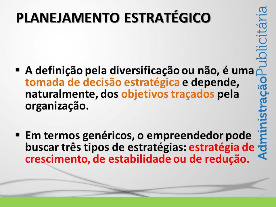 PLANEJAMENTO ESTRATÉGICO A definição pela diversificação ou não, é uma tomada de decisão estratégica e depende, naturalmente, dos objetivos traçados p