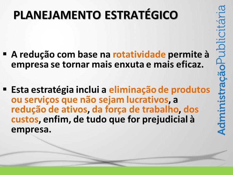 PLANEJAMENTO ESTRATÉGICO A redução com base na rotatividade permite à empresa se tornar mais enxuta e mais eficaz. Esta estratégia inclui a eliminação