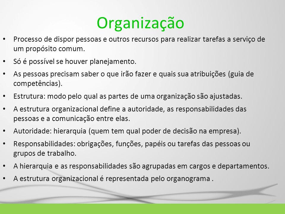 Organização Processo de dispor pessoas e outros recursos para realizar tarefas a serviço de um propósito comum. Só é possível se houver planejamento.