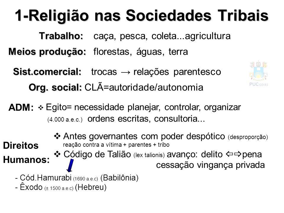 Trabalho: 1-Religião nas Sociedades Tribais Meios produção: Sist.comercial: caça, pesca, coleta...agricultura florestas, águas, terra trocas relações