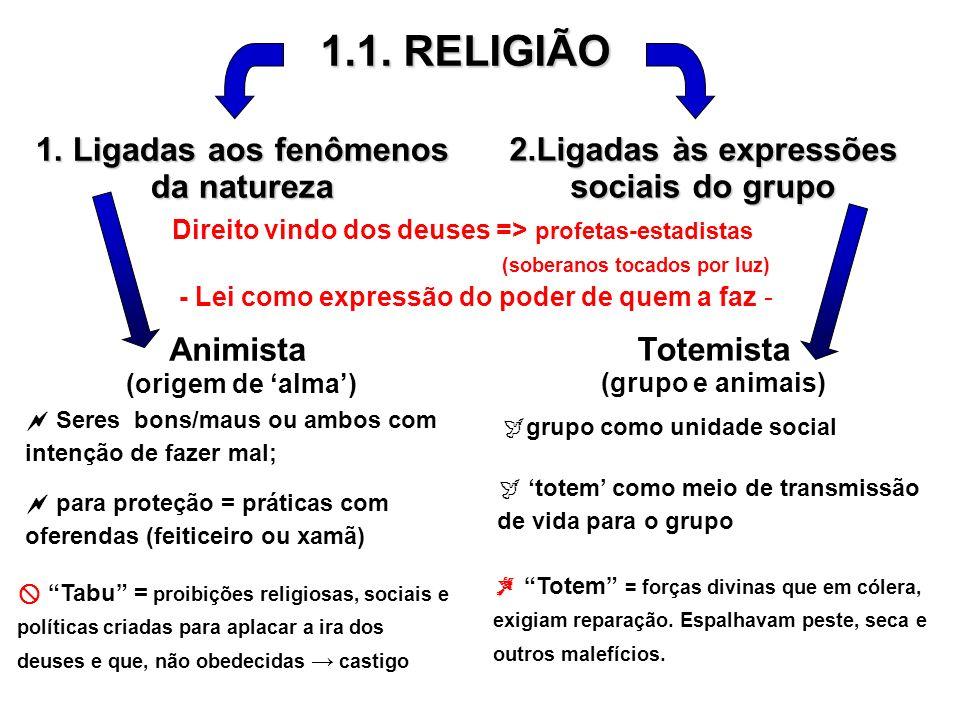 1.1. RELIGIÃO 1. Ligadas aos fenômenos da natureza 2.Ligadas às expressões sociais do grupo Animista (origem de alma) Seres bons/maus ou ambos com int