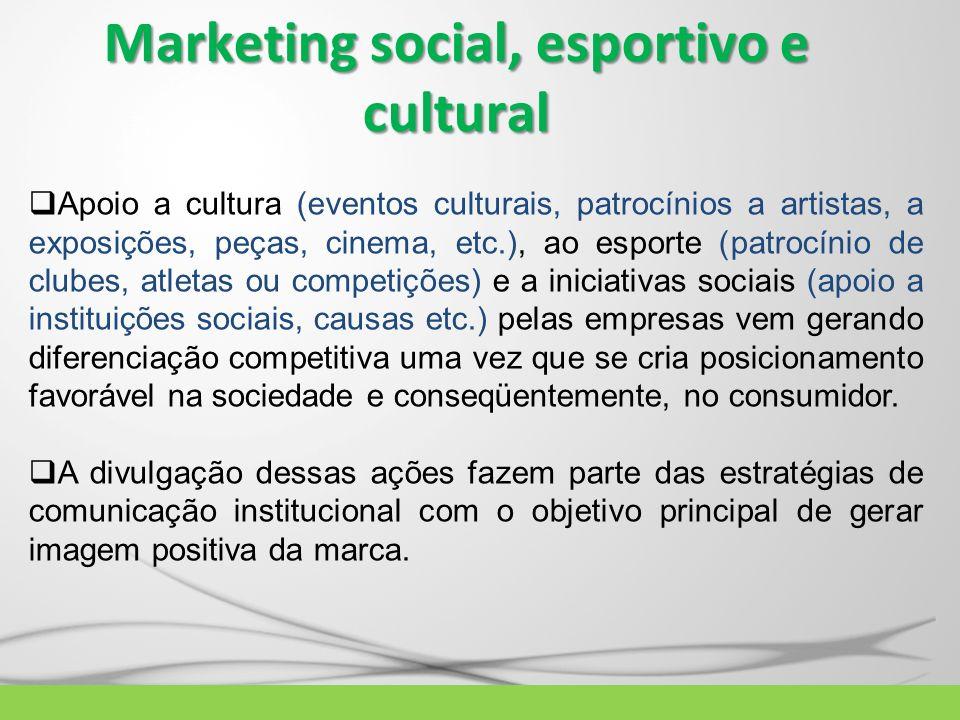 Marketing social, esportivo e cultural Apoio a cultura (eventos culturais, patrocínios a artistas, a exposições, peças, cinema, etc.), ao esporte (pat