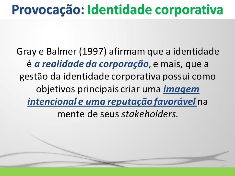 Gray e Balmer (1997) afirmam que a identidade é a realidade da corporação, e mais, que a gestão da identidade corporativa possui como objetivos princi