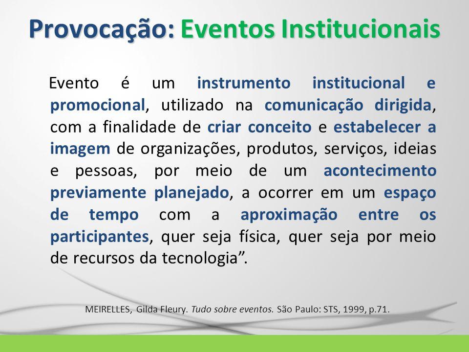 Provocação: Eventos Institucionais Evento é um instrumento institucional e promocional, utilizado na comunicação dirigida, com a finalidade de criar c