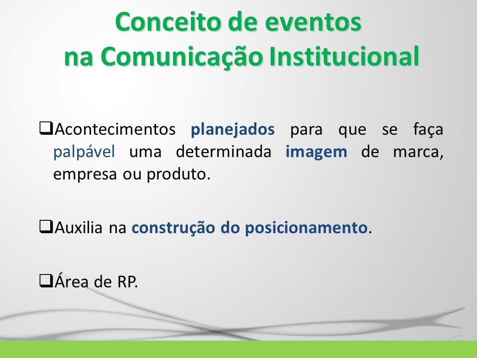 Conceito de eventos na Comunicação Institucional Acontecimentos planejados para que se faça palpável uma determinada imagem de marca, empresa ou produ