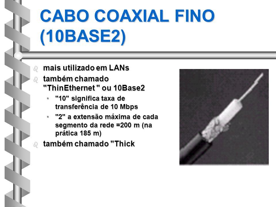 CABO COAXIAL FINO (10BASE2) b mais utilizado em LANs b também chamado