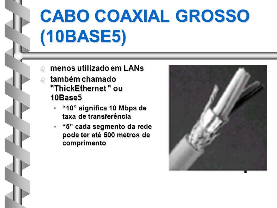 CABO COAXIAL GROSSO (10BASE5) b menos utilizado em LANs b também chamado