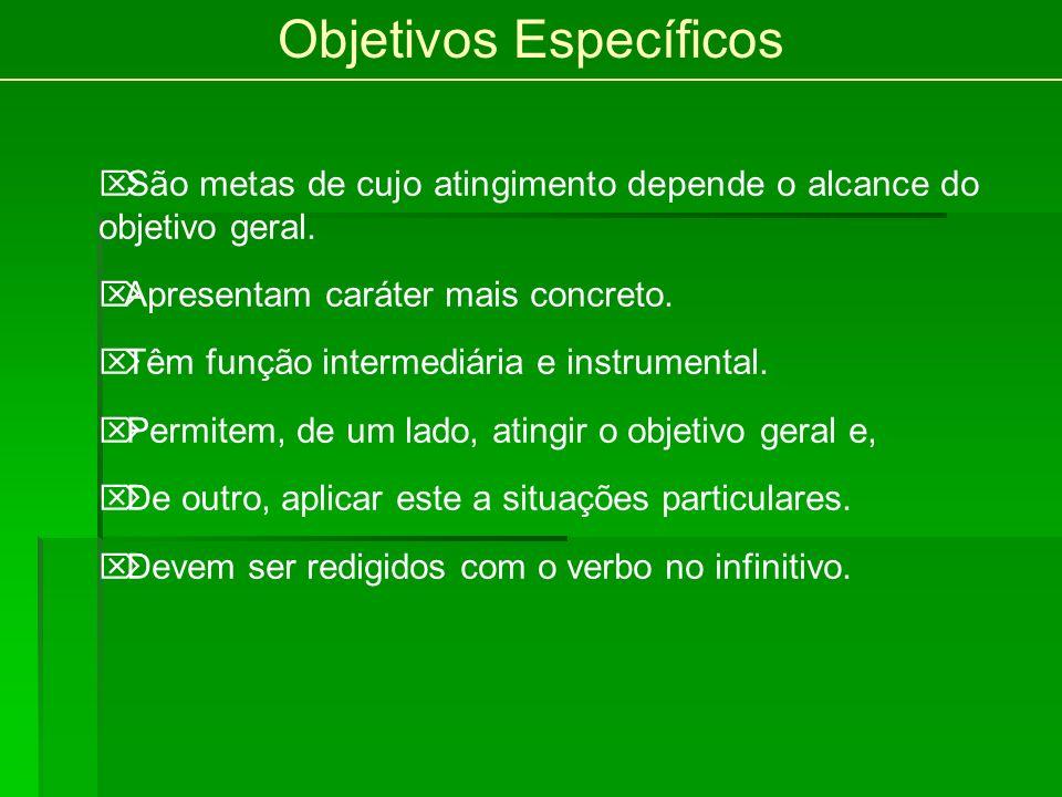 Objetivos Específicos São metas de cujo atingimento depende o alcance do objetivo geral.