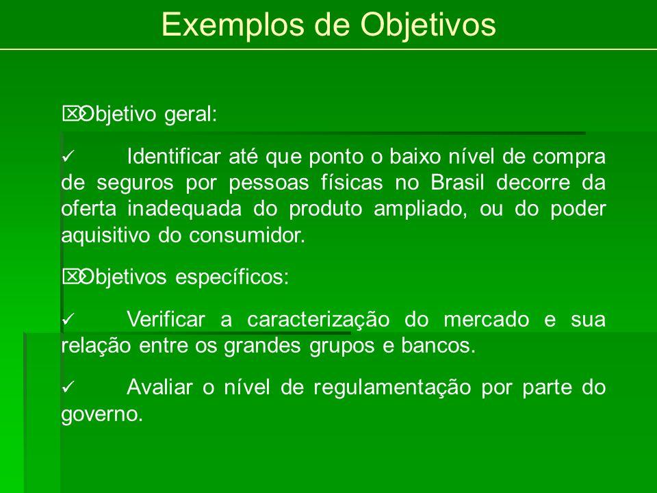 Exemplos de Objetivos Objetivo geral: Identificar até que ponto o baixo nível de compra de seguros por pessoas físicas no Brasil decorre da oferta inadequada do produto ampliado, ou do poder aquisitivo do consumidor.