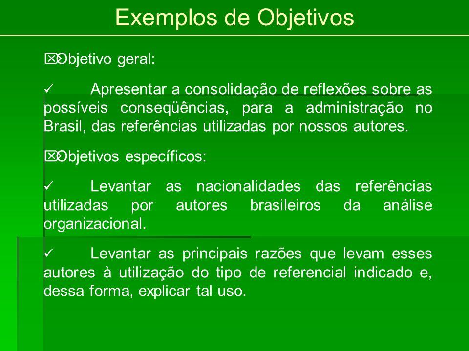 Exemplos de Objetivos Objetivo geral: Apresentar a consolidação de reflexões sobre as possíveis conseqüências, para a administração no Brasil, das referências utilizadas por nossos autores.
